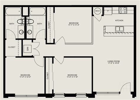Flat Floor Plan by Bedrooms Three Bedroom Flat Floor Plan Decor Modern On