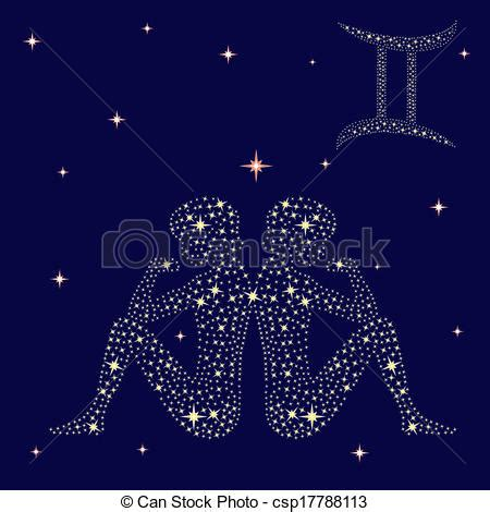 vector clip art of zodiac sign gemini on the starry sky