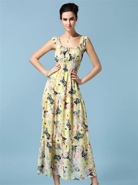 Kp3871 Sale High Quality Yellow Floral Chiffon Blous Kode Tyr3927 3 discount amazing in stock yellow floral high waist chiffon vest dress 24 9800