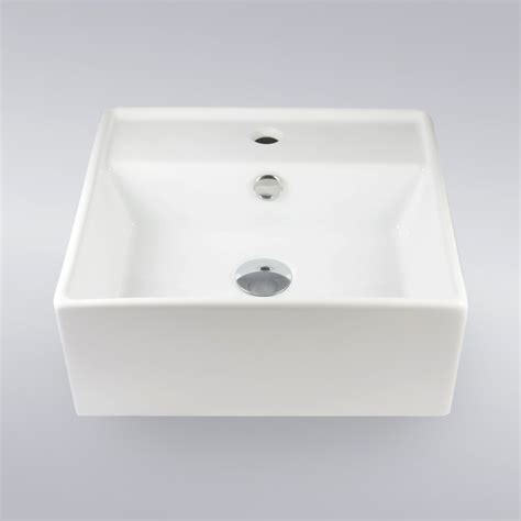 16 inch self rimming porcelain ceramic single hole