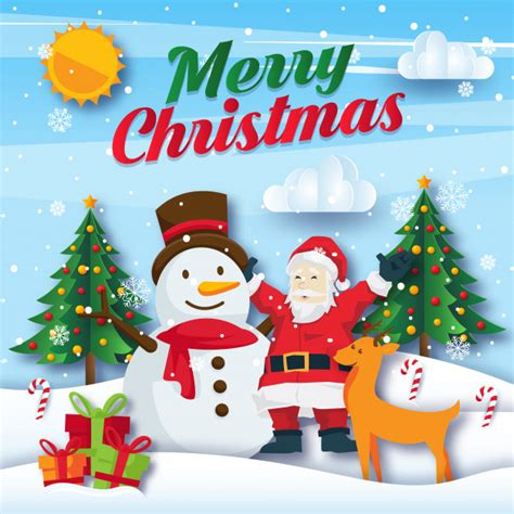 cute merry christmas paper art card illustration vector premium