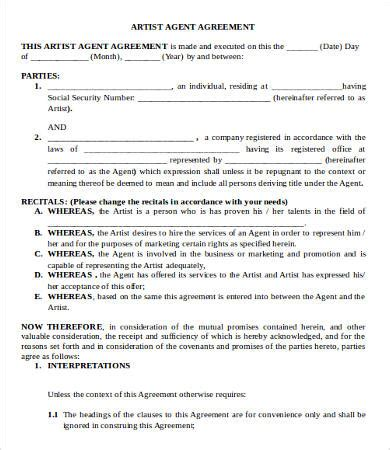 artist agreement template artist agreement template 9 free word pdf documents