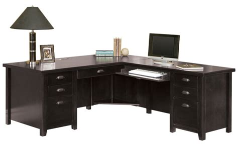Executive Desk L Shaped Tribeca Loft Black Office Furniture Pedestal Executive Desk