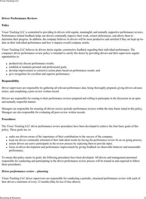 download visser trucking company safety policy template