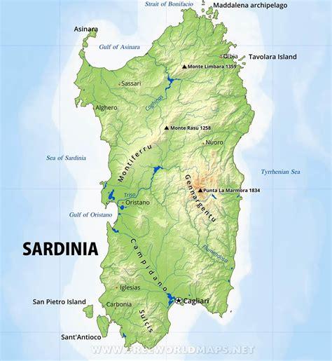 sardinia map sardinia physical map