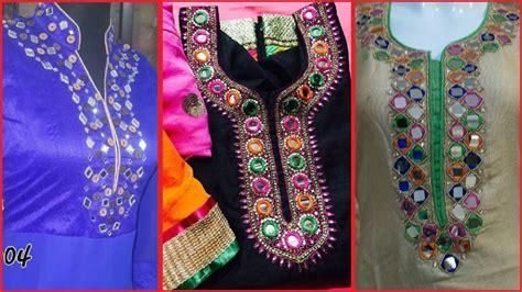 embroidery design for kurta neck latest trendy hand embroidered mirror work neck kurta