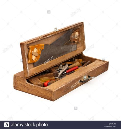 Handcrafted Tools - vintage handmade wooden toolbox with carpentry tools stock