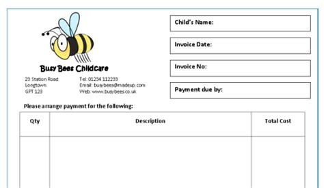childminding policies templates new invoice receipt templates mindingkids