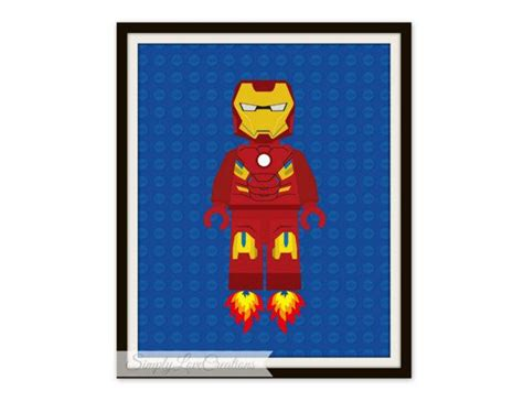 printable lego iron on lego iron man print superhero pop art instant download