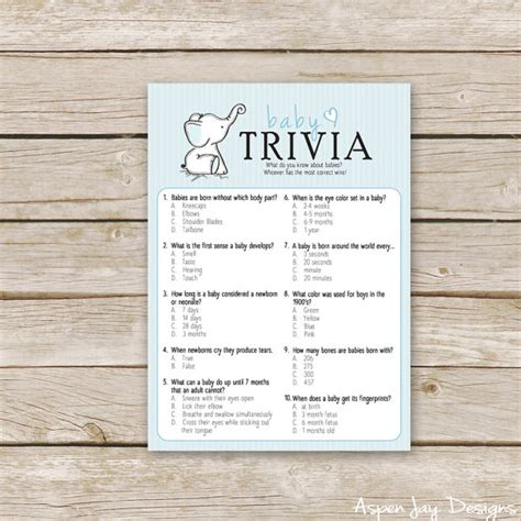 Baby Shower Trivia Free Printable by Blue Elephant Baby Shower Trivia Printable