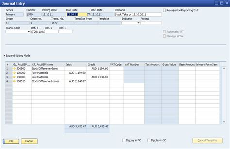 sap business one stock take procedures