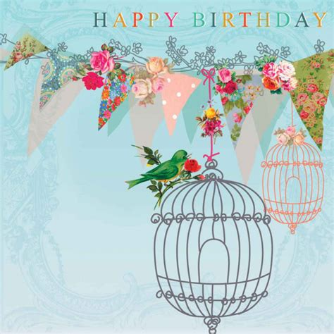 Pictures Of Flowers by 21660 Quot Happy Birthday Quot Bird Cages Flowers Amp Bunting