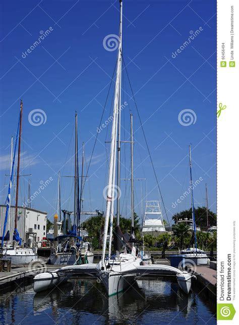 sailboats with two hulls trimaran sailboat at the dock stock photo image 60456494