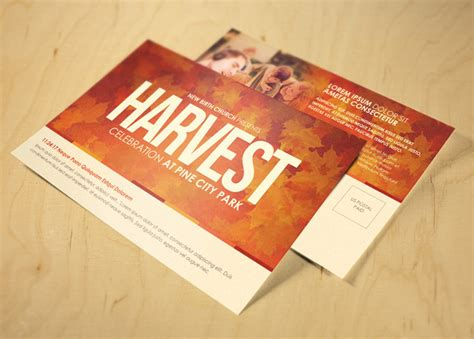 promotional event post card template harvest celebration church postcard template inspiks market