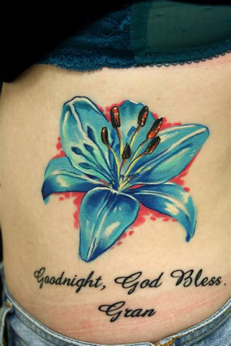 blue lily tattoo design ideas and designs
