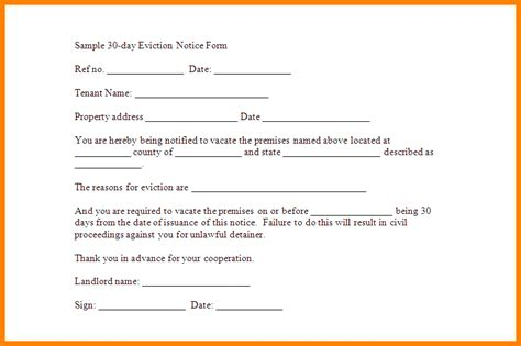 Printable 30 Day Eviction Notice | 5 printable 30 day eviction notice letter format for