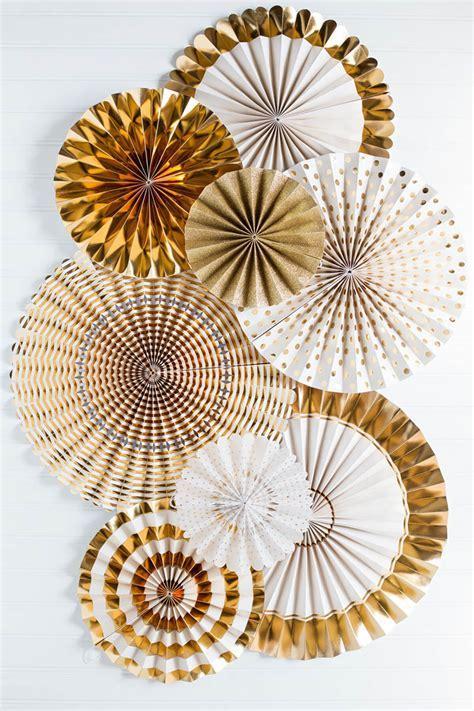 Fancy Party Fans Rosette Pinwheels Gold & White, Wedding