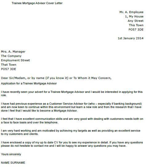 Mortgage Employment Letter Trainee Mortgage Advisor Cover Letter Exle Icover Org Uk