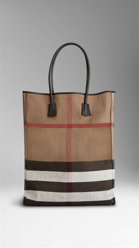Burberry Check Canvas Tote by Burberry Canvas Check Tote Bag In Beige For Black Lyst