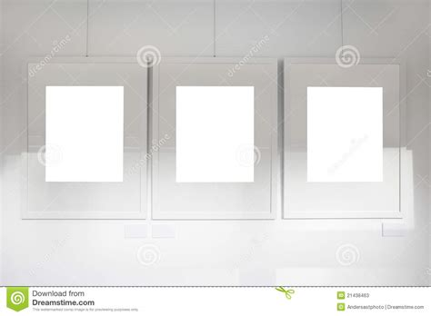 blank gallery wall blank frames on art gallery white wall stock photos