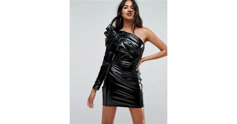 Mini Dress Fashion Ld90 95 lyst asos vinyl mini dress in black