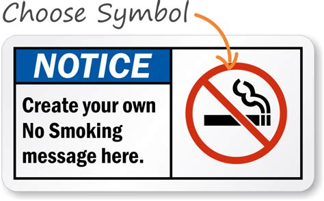 no smoking sign template no smoking sign with graphic create your own message