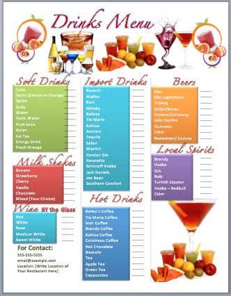 html menu bar templates free drinks bar menu template microsoft word templates
