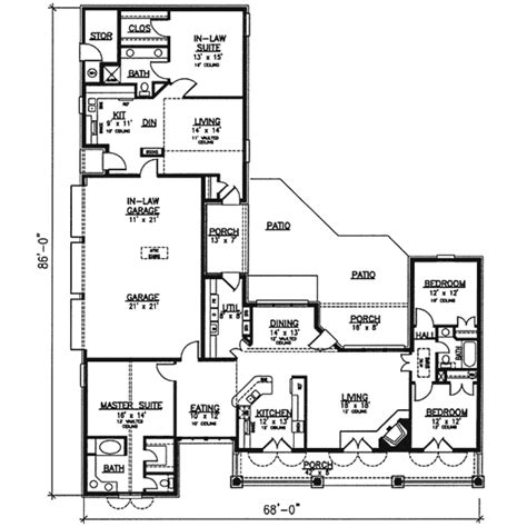Floor Plans With Mother In Law Suite southern style house plan 4 beds 3 baths 2400 sq ft plan
