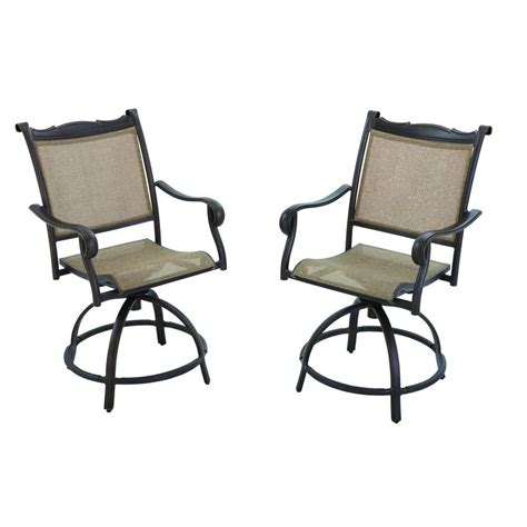 swivel patio dining chairs hton bay westbury swivel patio high dining chair 2 pack s2 adq27113 the home depot