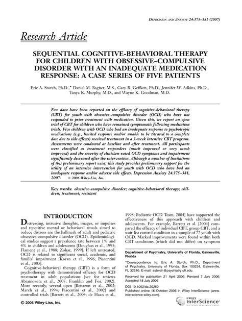 Pdf Sequential Cognitive Behavioral Therapy For Children