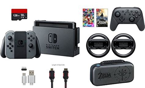 Nintendo Switch Grey Bundle 1 Free Pouch And Screen Protector nintendo switch 32gb console gray con 9 items bundle mario kart 8 deluxe and deluxe travel