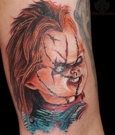 doll star tattoo seed of chucky tattoos chucky doll tattoos color chucky