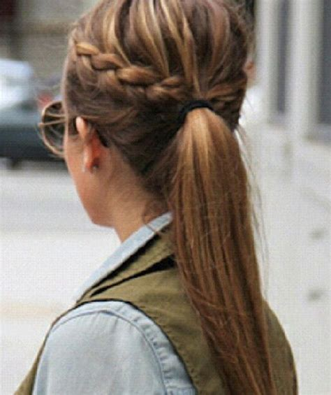 hair braided into pony tail braid pulled into pony tail cute hair pinterest