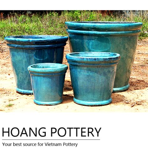 Outdoor Pottery Pots Blue Ceramic Pots Outdoor Hpth004 Hoang Pottery