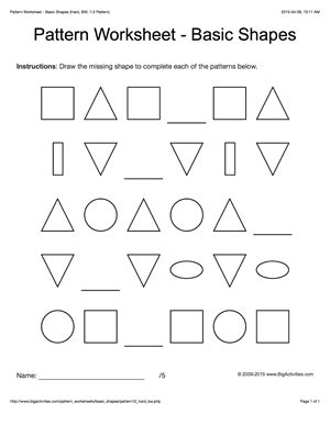 picture pattern worksheet for grade 1 pattern worksheets for kids black white basic shapes