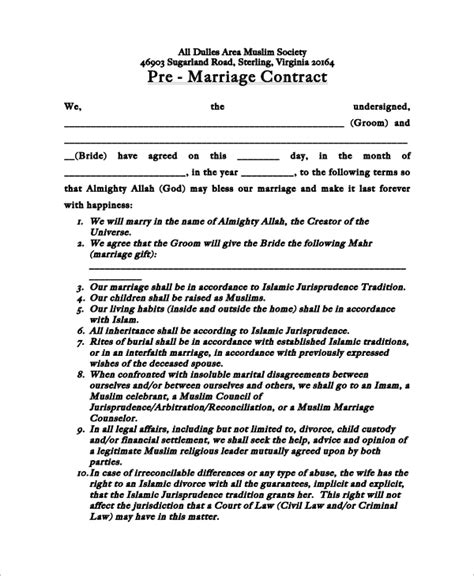 Agreement Letter For Marriage Sle Marriage Contract 13 Exles In Word Pdf