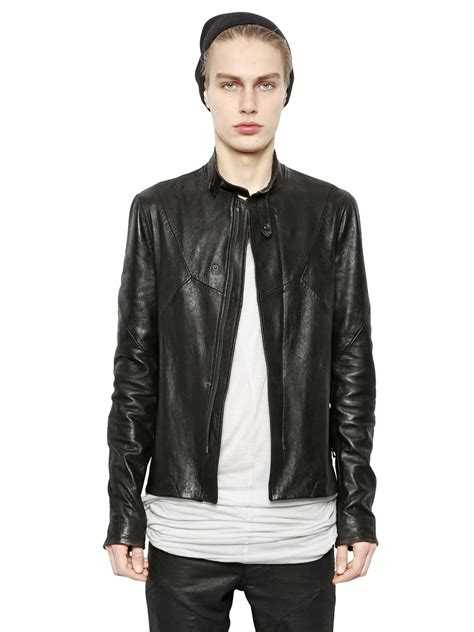 Patchwork Leather Jacket - julius patchwork nappa leather jacket in black for lyst