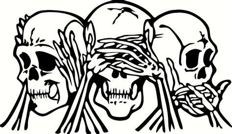 Evil Friends Vinyl - see hear speak no evil skulls vinyl cut out decal