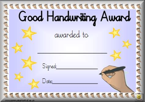 Calligraphy Card Printable Template Free by Homework Award Editable