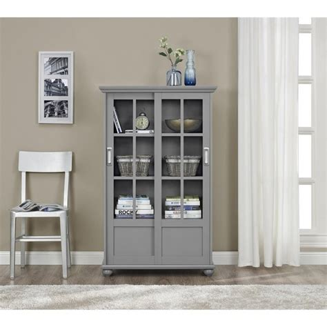 gray bookcase with doors 4 shelf glass door bookcase in soft gray 9448296pcom