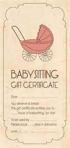 babysitting gift certificate template gift certificates