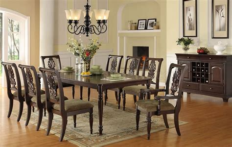 classic dining room chairs f2162 classic dining room in dark brown by poundex