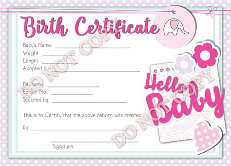 reborn birth certificate template reborn doll birth certificate hello baby