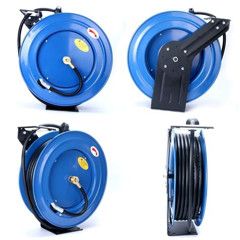 auto rewind retractable 3 8 quot x 100 300 psi retractable air compressor hose reel