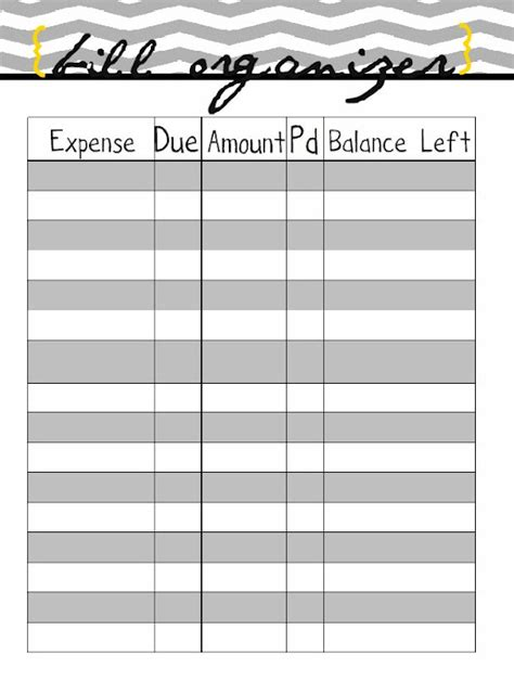 free bill paying organizer template monthly bills spreadsheet printable images
