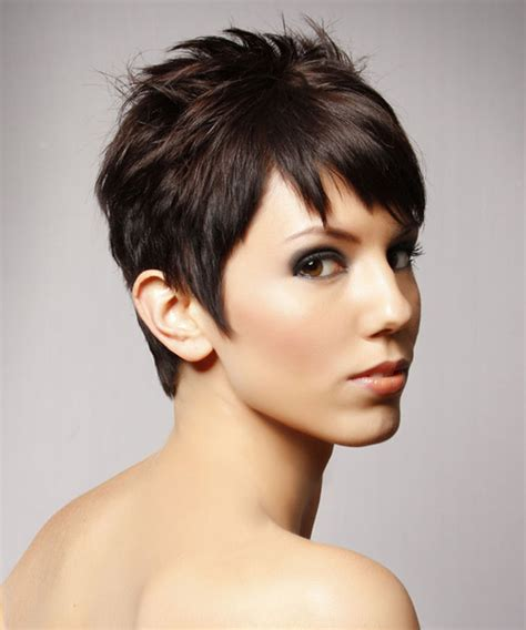 short hairstyles with razor cuts in the back short straight casual hairstyle chocolate