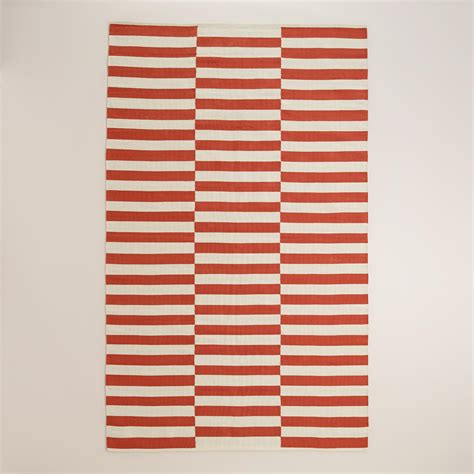 striped cotton area rugs cranberry and white stripe cotton dhurrie area rug world market