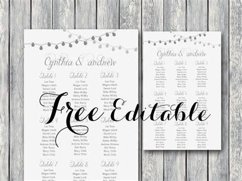 seating chart cards template free free light wedding chart printable july 23 2016