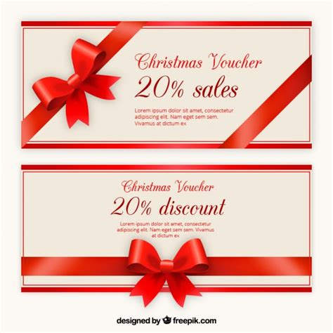 christmas voucher discount template pack vector