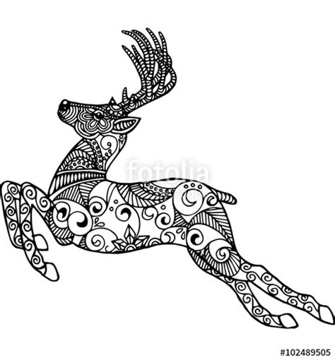 running deer coloring page quot hand drawn running deer for coloring book logo and other